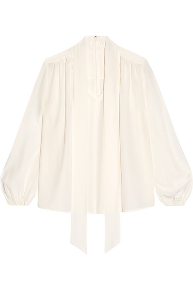 Co - Pussy-bow Silk Crepe De Chine Blouse - White