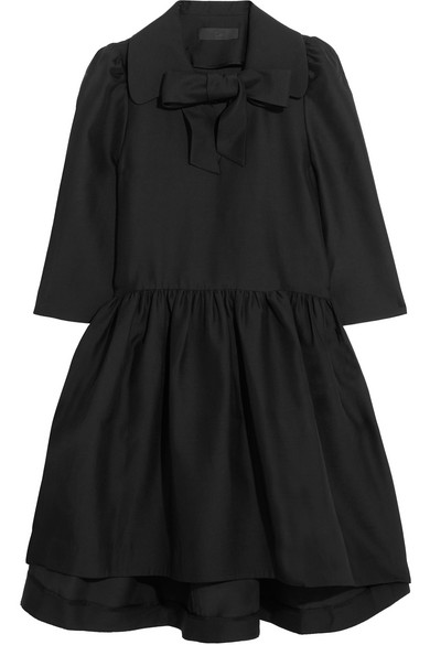 Co - Pussy-bow Woven Dress - Black