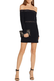 Dion Lee Off-the-shoulder cutout stretch-ponte mini dress