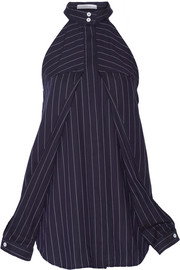 Cutout pinstriped cotton-poplin top