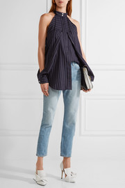 Dion Lee Cutout pinstriped cotton-poplin top