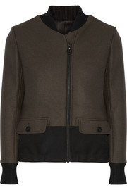 Twill-trimmed wool bomber jacket