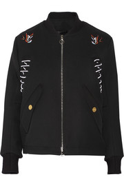 Embroidered wool-gabardine bomber jacket