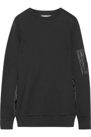 Shell-paneled cotton-jersey sweatshirt