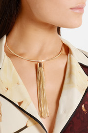 Kenneth Jay Lane Tasseled gold-plated choker