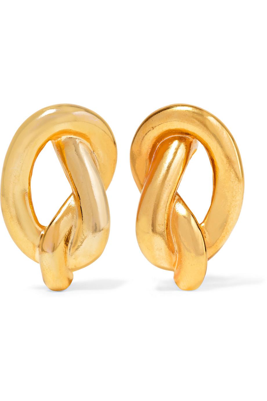 Gold-Plated Clip Earrings, Kenneth Jay Lane, Women's