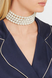 Kenneth Jay Lane Silver-plated faux pearl choker