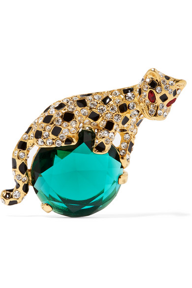 Kenneth Jay Lane - Gold-plated Enamel And Crystal Brooch