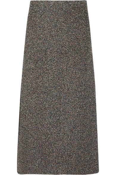 Rosetta Getty - Metallic Bouclé Midi Skirt - Gray