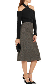 Metallic bouclé midi skirt