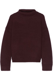 Textured wool and cashmere-blend turtleneck sweater