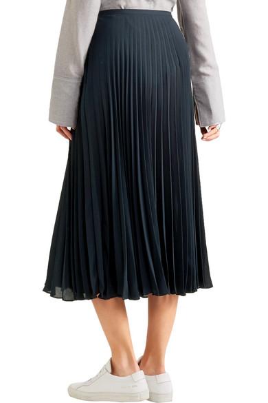 vince pleated chiffon midi skirt net a porter
