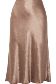 Washed-satin midi skirt