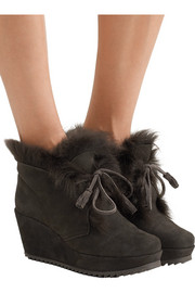 Pedro Garcia Fidela shearling-lined suede wedge boots