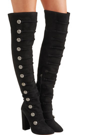 Rasputine embellished suede over-the-knee boots