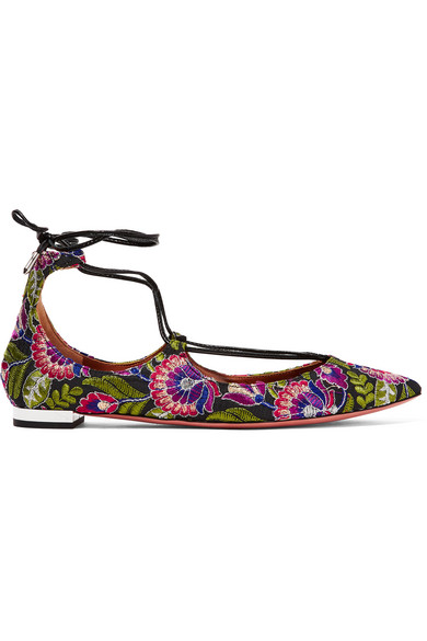 Aquazzura Canvases Christy embroidered canvas point-toe flats