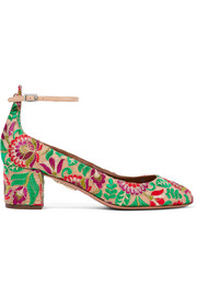 Alix embroidered canvas pumps