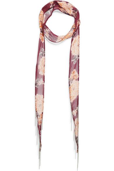 chan luu female chan luu embellished floralprint georgette scarf burgundy