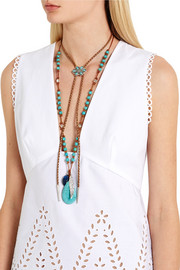 Chan Luu Leather, silver and turquoise necklace
