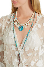 Chan Luu Silver, turquoise and leather necklace