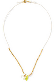 Chan Luu Tasseled gold-plated beaded necklace