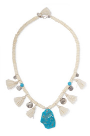 Chan Luu Tasseled turquoise and silver beaded necklace
