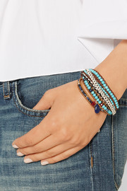Chan Luu Silver, leather and multi-stone wrap bracelet