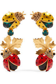 Gold-plated, crystal and enamel clip earrings