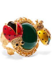 Gold-plated, crystal and enamel ring