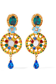 Gold-plated, Swarovski crystal and enamel clip earrings