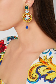 Dolce & Gabbana Gold-plated, Swarovski crystal and enamel clip earrings