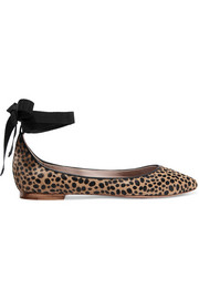 Leather-trimmed leopard-print calf hair ballet flats