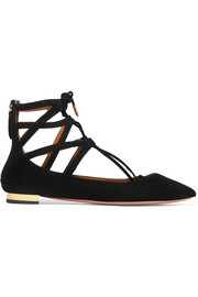 Aquazzura Belgravia suede point-toe flats