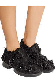 Simone Rocha Embellished tweed slip-on sneakers