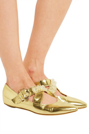 Simone Rocha Embellished metallic leather point-toe flats