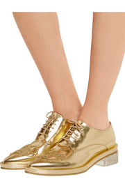 Simone Rocha Embellished metallic leather brogues