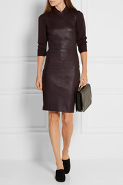 The Row Cobi bonded stretch-leather mini dress