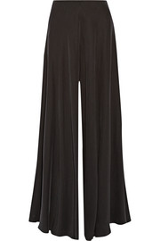 Anissa washed silk-charmeuse wide-leg pants