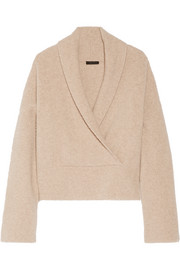 Fontaine wrap-effect brushed cashmere-blend sweater