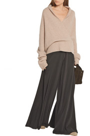 The Row Fontaine wrap-effect brushed cashmere-blend sweater