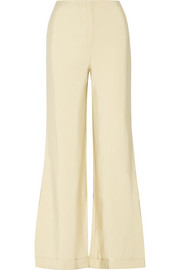 Winona wool and silk-blend faille wide-leg pants