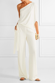Halston Heritage One-shoulder draped stretch-crepe jumpsuit