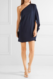 Halston Heritage One-shoulder satin-trimmed crepe mini dress