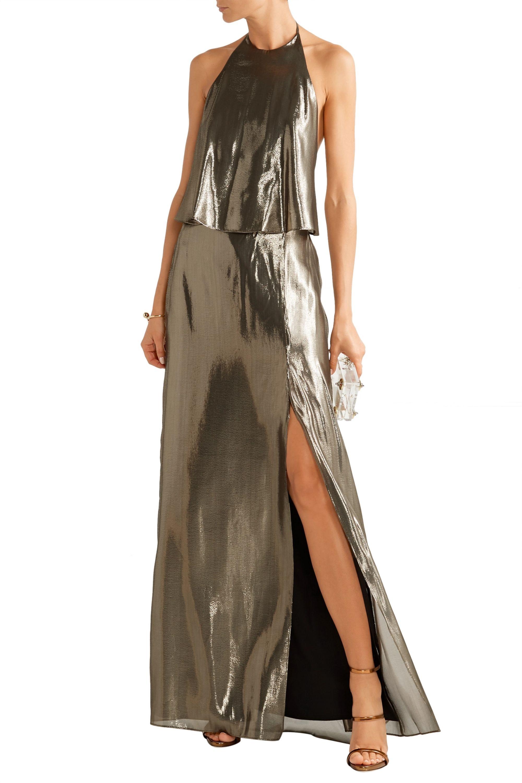 Halston Silk-blend lamé halterneck gown