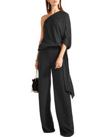 Halston Heritage One-shoulder satin-trimmed stretch-silk crepe top