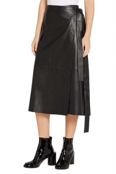 Helmut Lang | Leather wrap skirt | NET-A-PORTER.COM