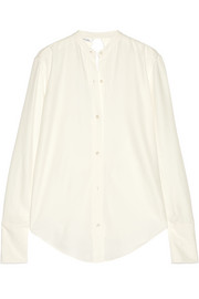 Knot-detailed open-back twill shirt