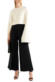 Johnson pleated crepe wide-leg pants