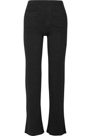 Ribbed wool-blend bootcut pants