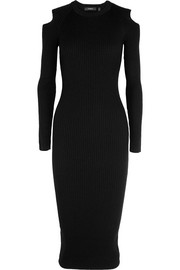 Jemlora cutout ribbed wool-blend dress